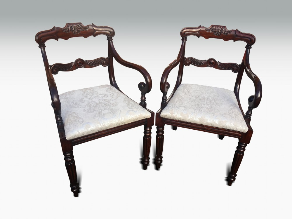 an excellent pair of regency mahogany armchairs