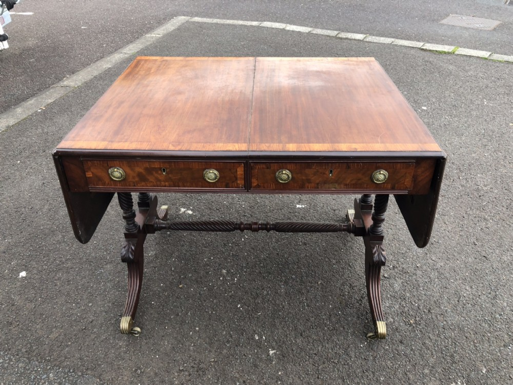 an irish regency mahogany kingwood banded sofa table