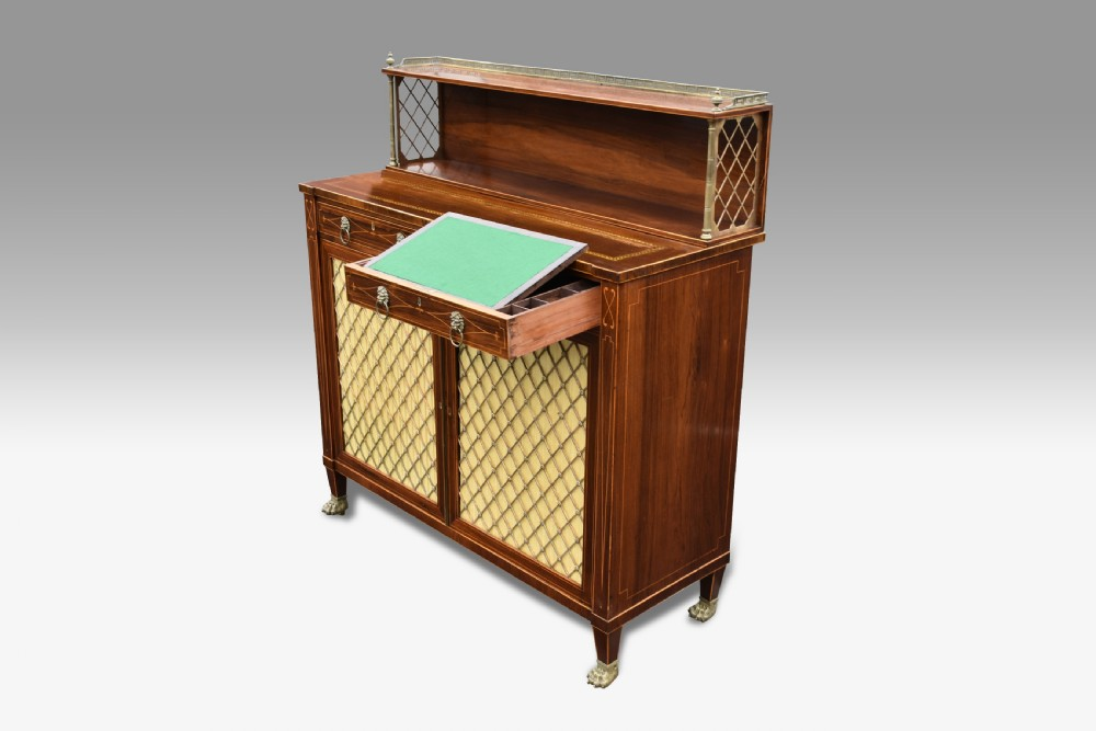 a superb regency rosewood and boxwood inlaid chiffioner attributed to john mcclean